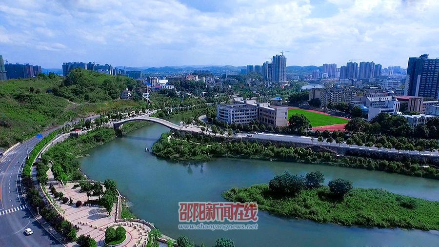 俯瞰步月桥连接邵水河两岸